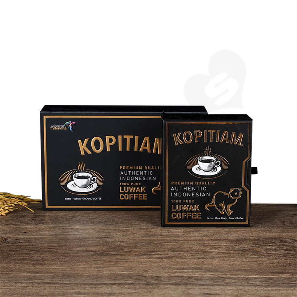 3D gold Foil Stamping Cardboard Drawer Box For Luwak Coffee Side View Three