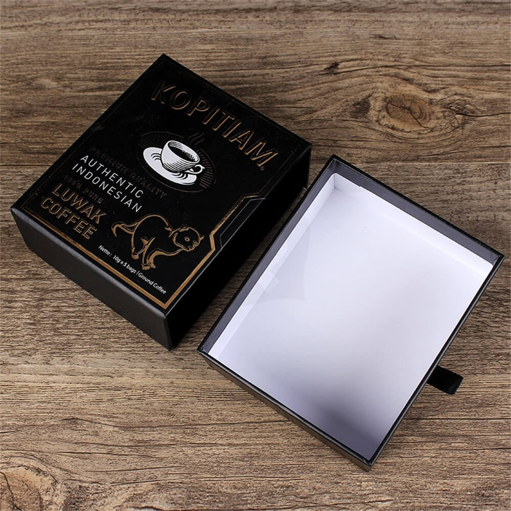 3D gold Foil Stamping Cardboard Drawer Box For Luwak Coffee Side View Two