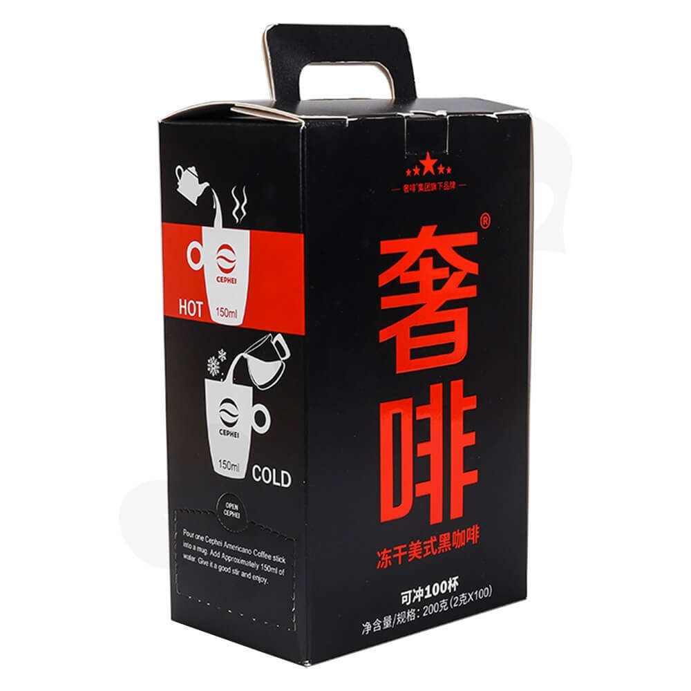 Americano Coffee Powder Packaging Box With Handle Side View Two