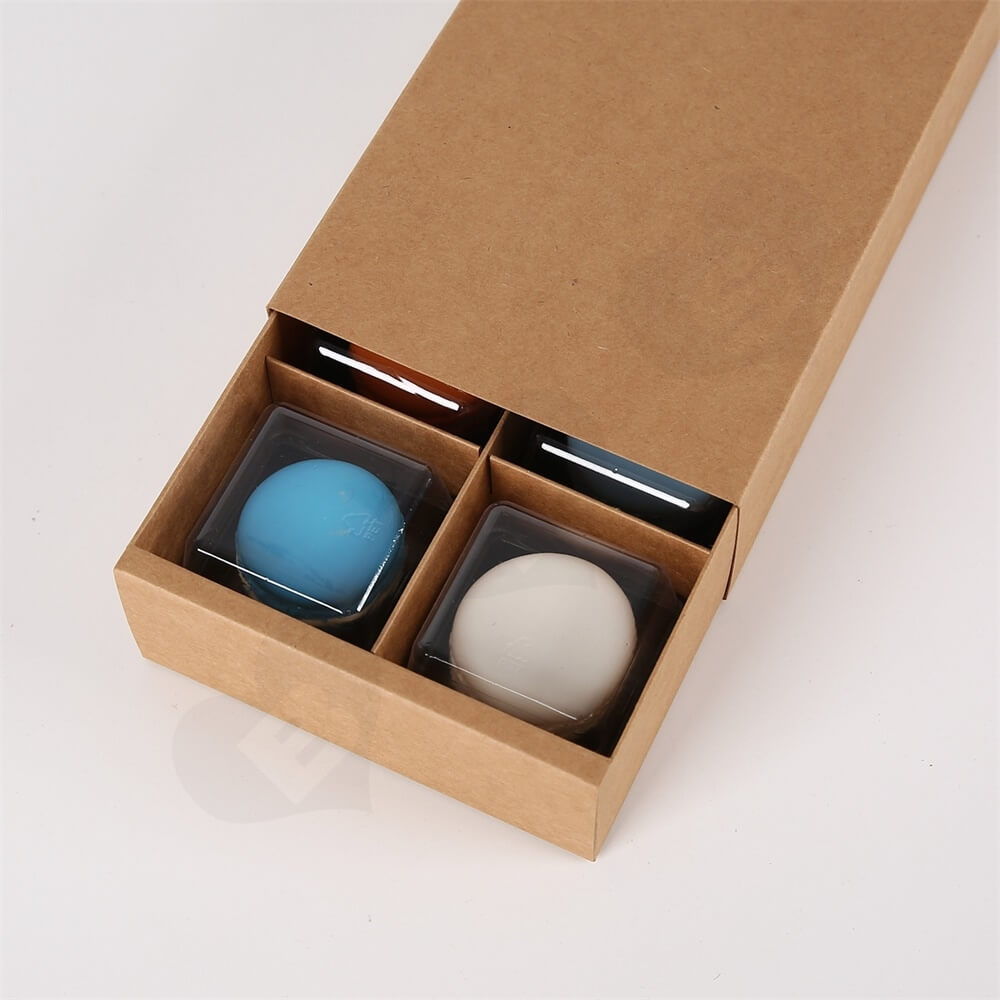 Brown Kraft Paper Box For Six Pieces Macarons Side View Three
