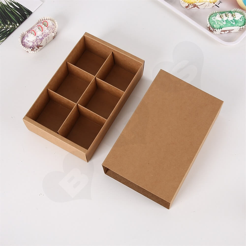 Brown Kraft Paper Box For Six Pieces Macarons Side View Two