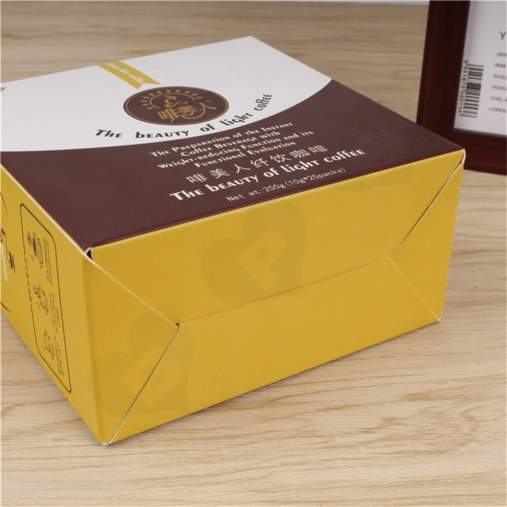 Cardboard Folding Box Carton For Light Coffee Powder Side View Four