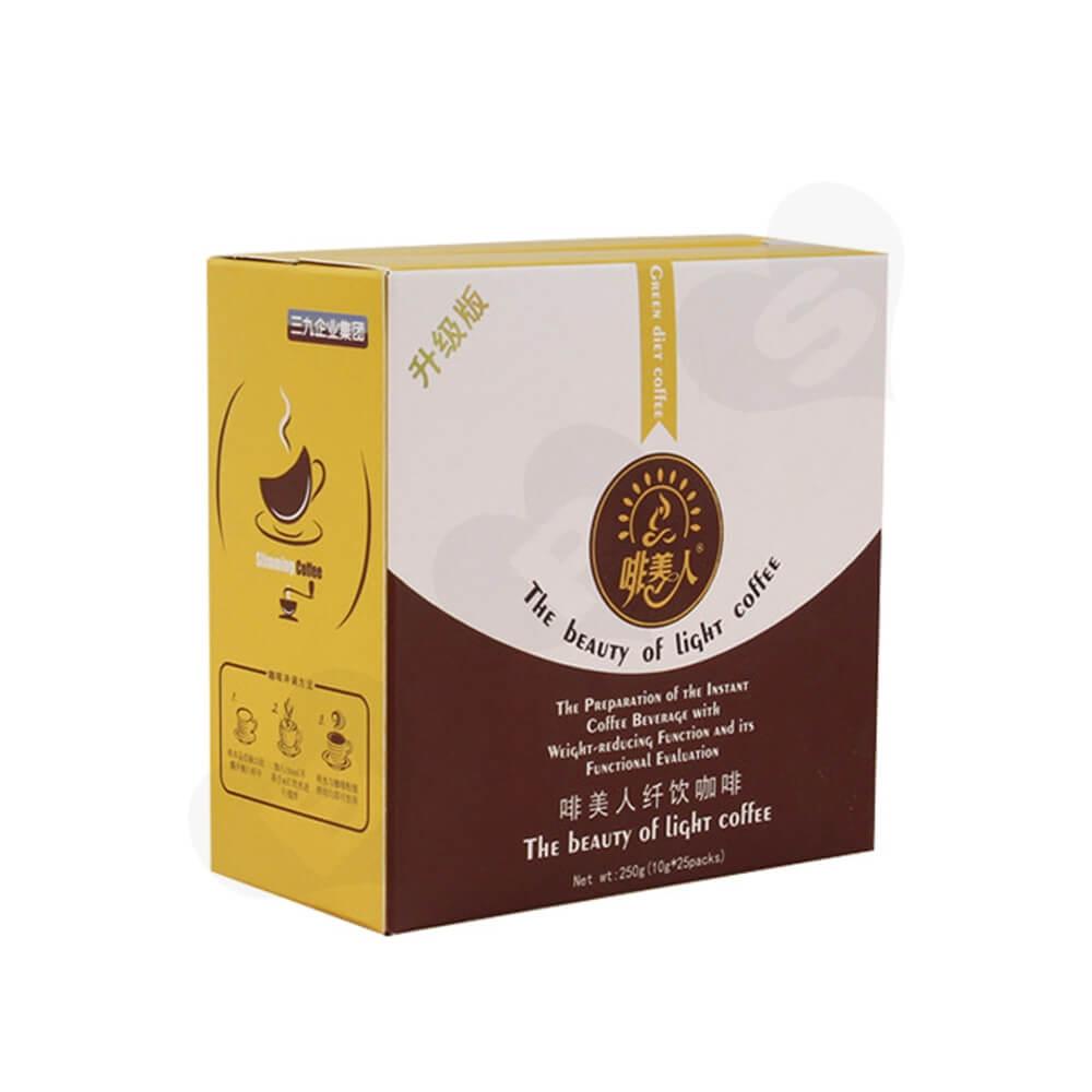 Cardboard Folding Box Carton For Light Coffee Powder Side View One