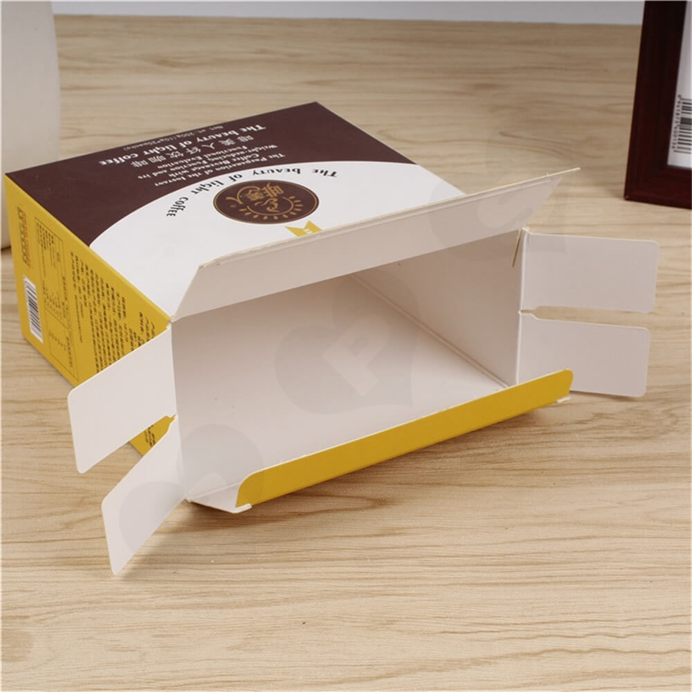 Cardboard Folding Box Carton For Light Coffee Powder Side View Three