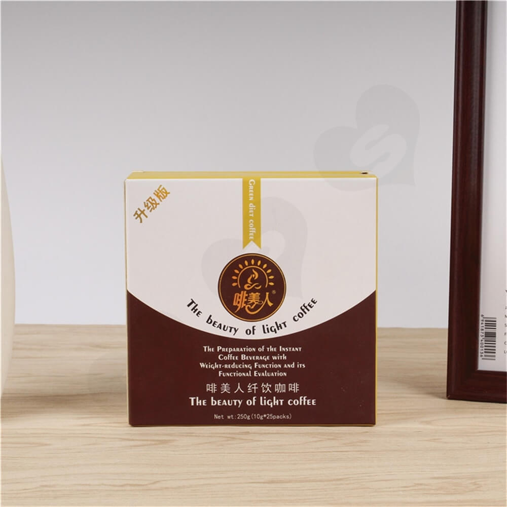 Cardboard Folding Box Carton For Light Coffee Powder Side View Two