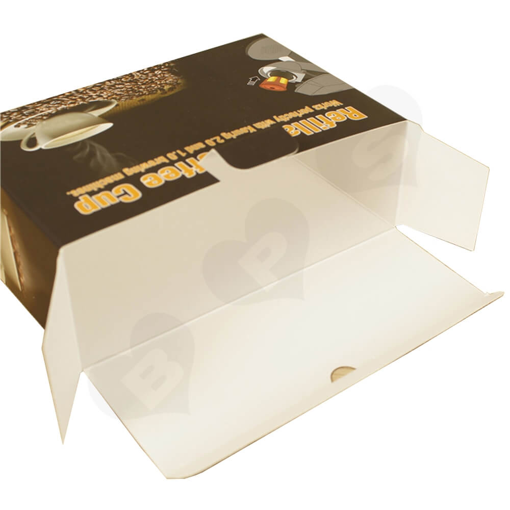 Cardboard Folding Carton For Refillable Coffee Cup Side View Three