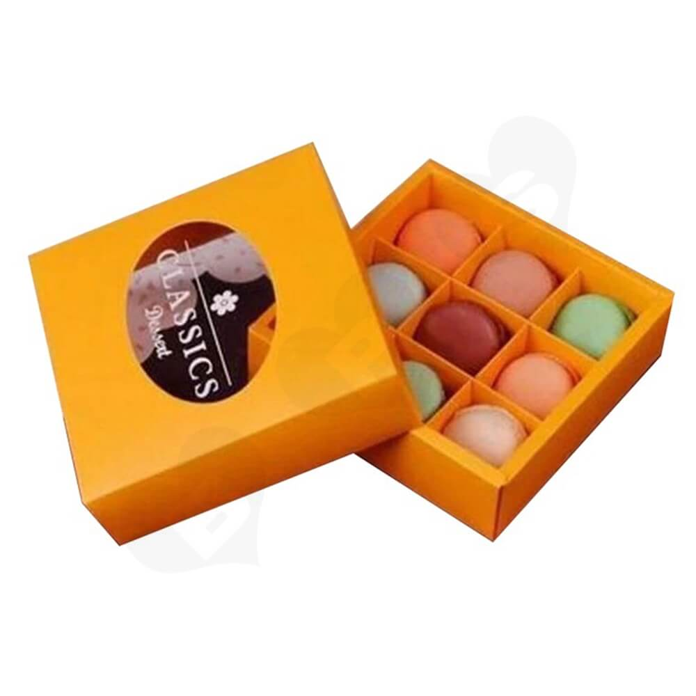 Cardboard Gift Box With Plastic Window For Macarons Side View Five