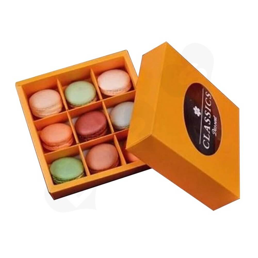 Cardboard Gift Box With Plastic Window For Macarons Side View One