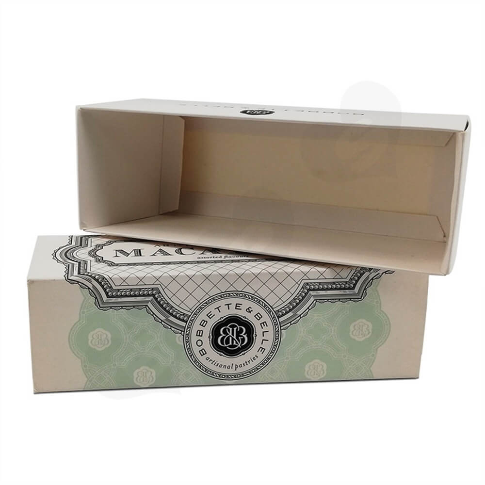 Cardboard Macaron Box Personalized Logo Printing Side View Five
