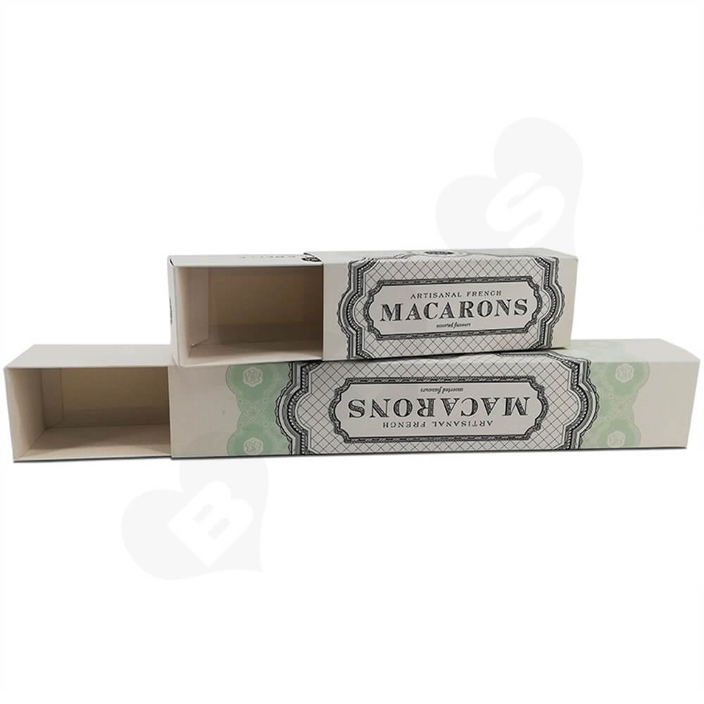 Cardboard Macaron Box Personalized Logo Printing Side View Three