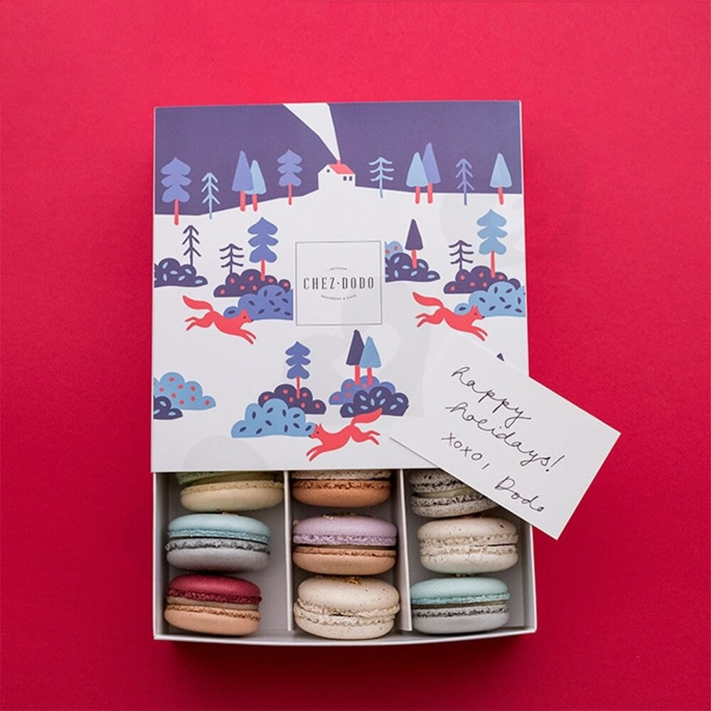 Christmas Gift Packaging Box For Macarons Side View Four