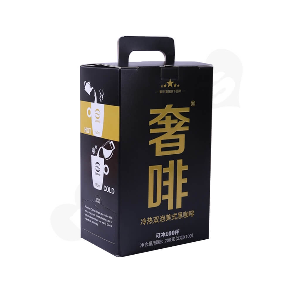 Corrugated Cardboard Box With Handle For Coffee Powder Side View One