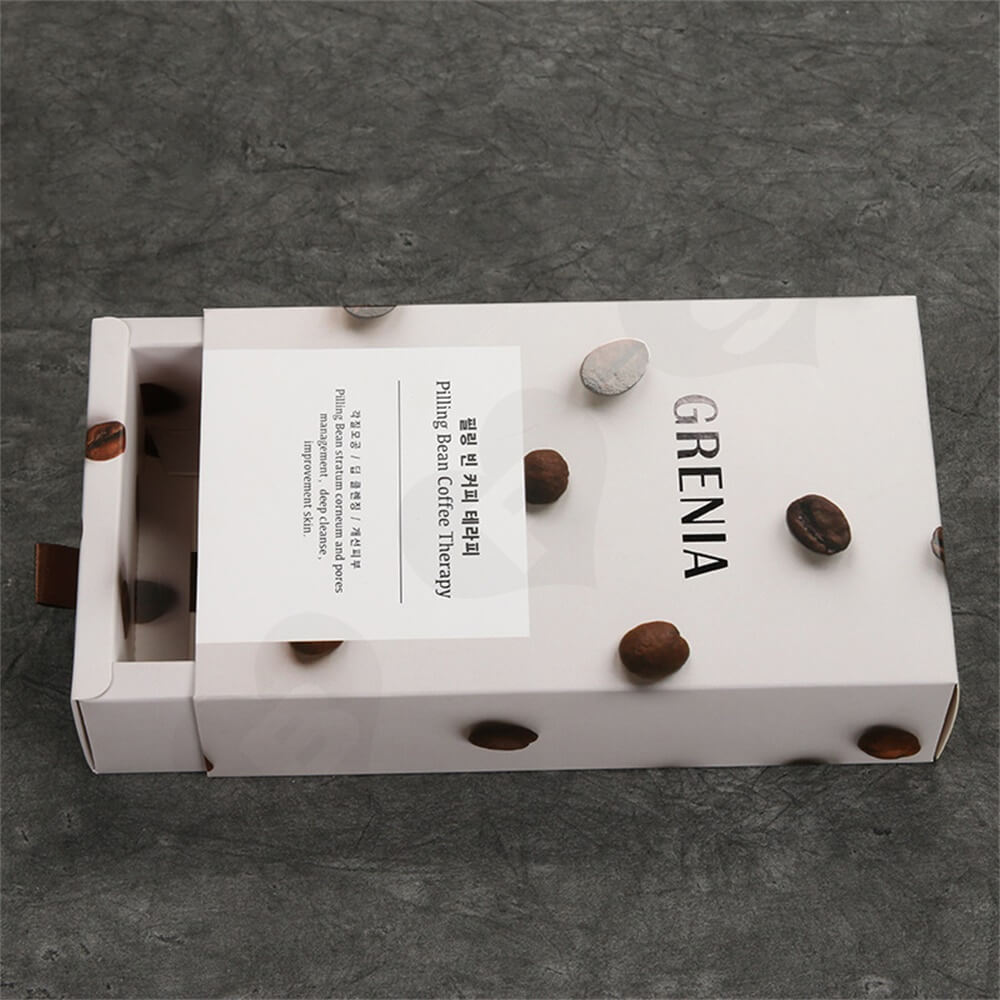 Custom Cardboard Drawer Box Carton For Coffee Beans Side View Four