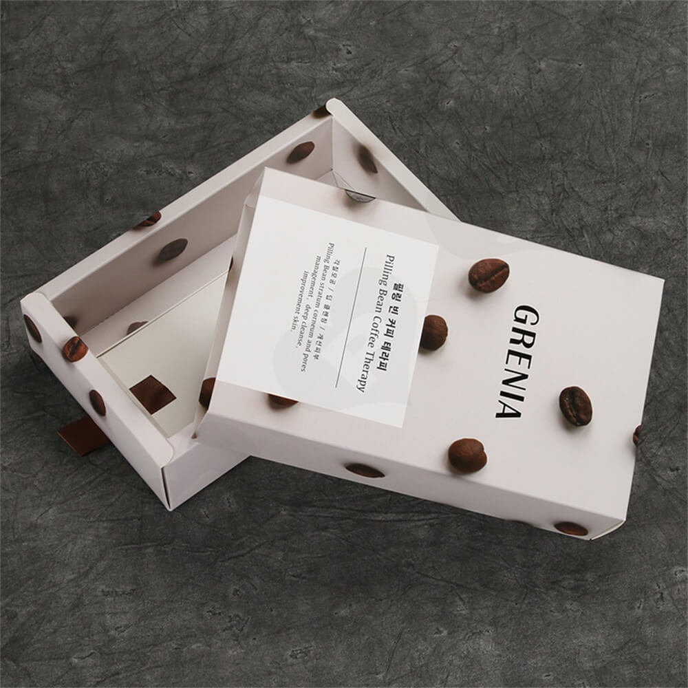 Custom Cardboard Drawer Box Carton For Coffee Beans Side View Three