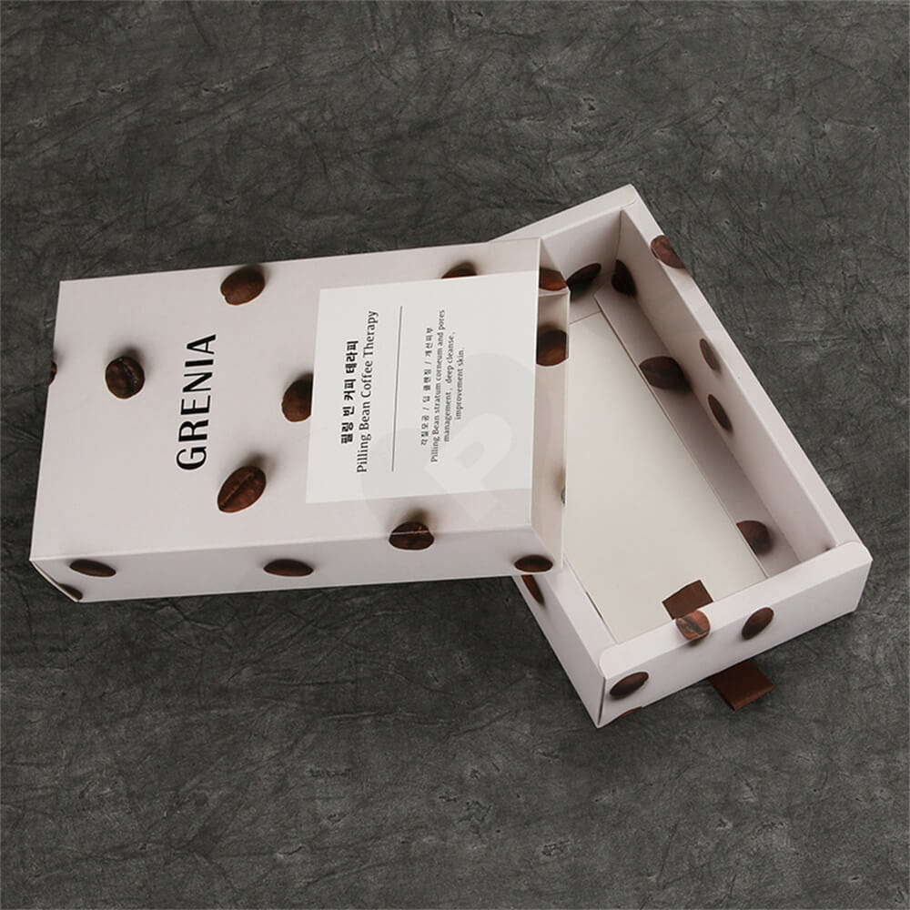 Custom Cardboard Drawer Box Carton For Coffee Beans Side View Two