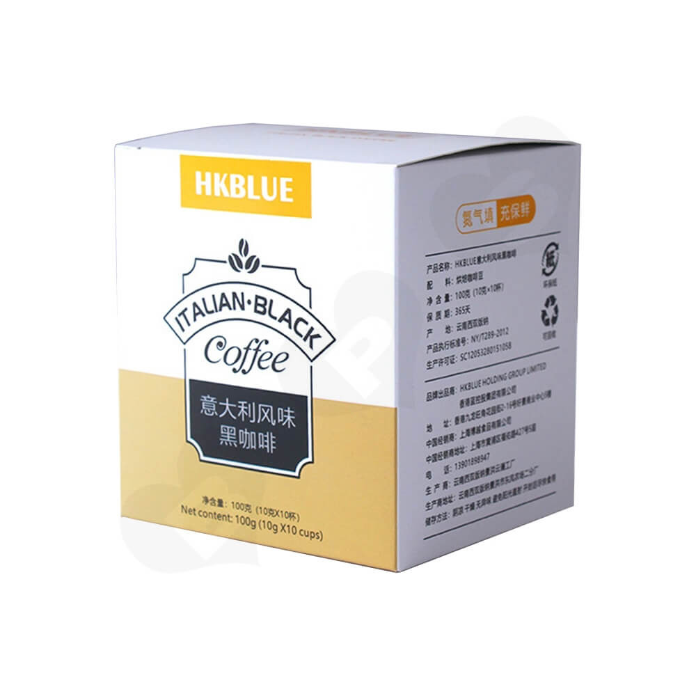 Custom Folding Carton For Italian Coffee Powder Side View One
