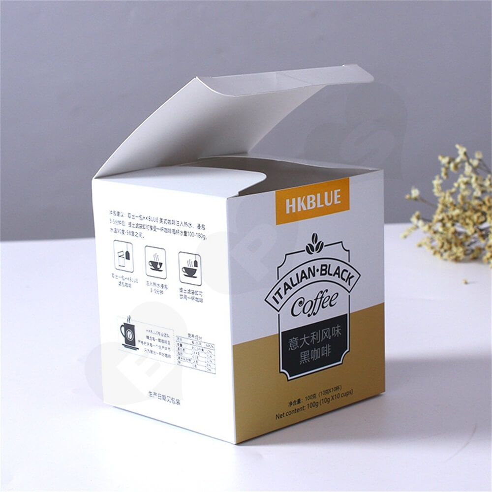 Custom Folding Carton For Italian Coffee Powder Side View Three