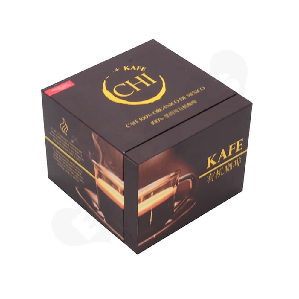 Custom Printed Cardboard Box For Organic Coffee Powder Side View Four