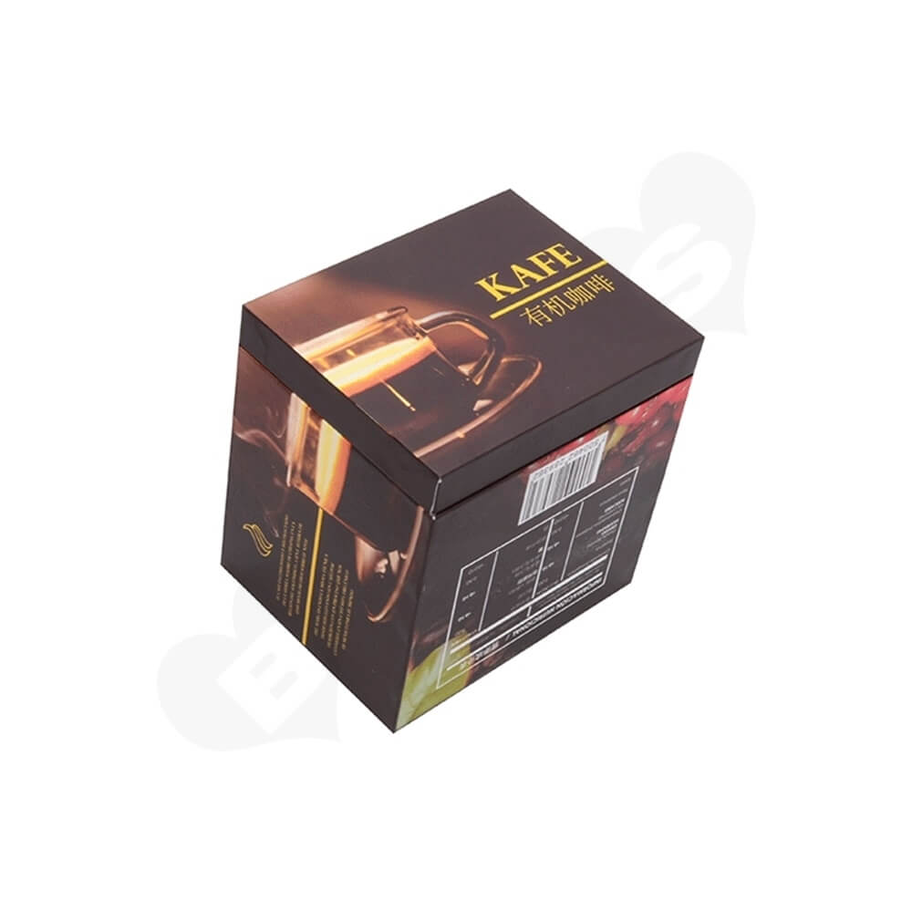 Custom Printed Cardboard Box For Organic Coffee Powder Side View Three