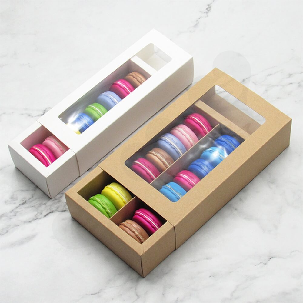 Custom Printed Kraft Cardboard Drawer Box For Macarons Side View One