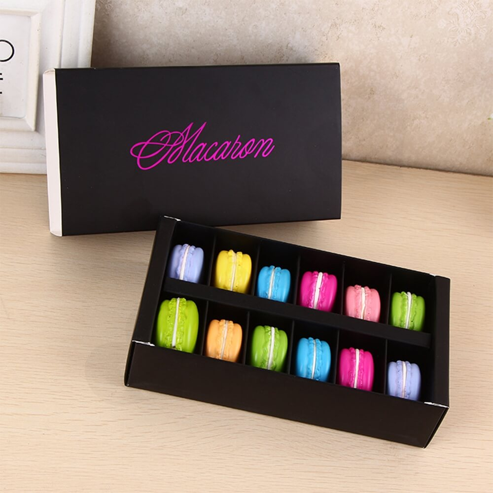 Custom Printed Paper Box For Twelve Pieces Macarons Side View Eight