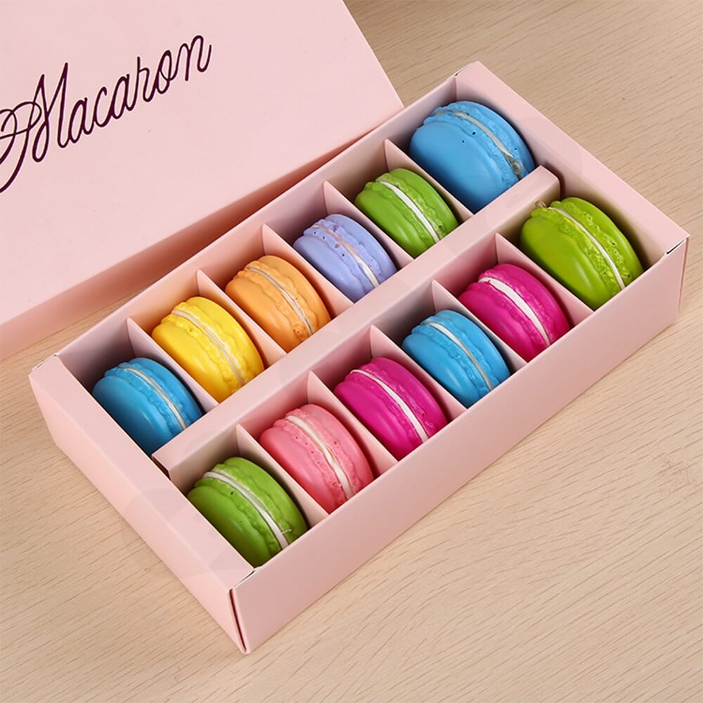 Custom Printed Paper Box For Twelve Pieces Macarons Side View Nine