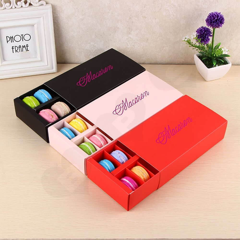 Custom Printed Paper Box For Twelve Pieces Macarons Side View Ten