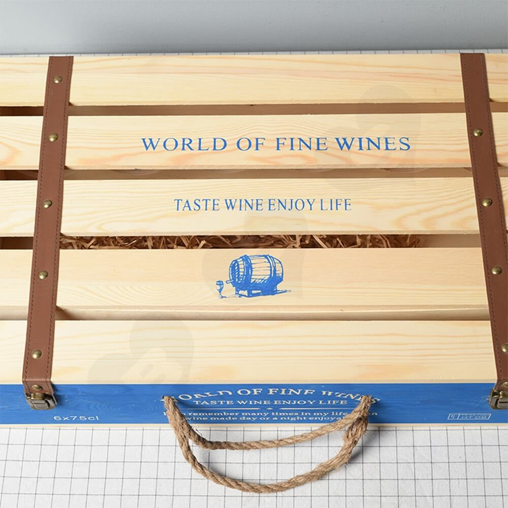 Customizable Six Pack Wine Box With Timber Divider Side View Four