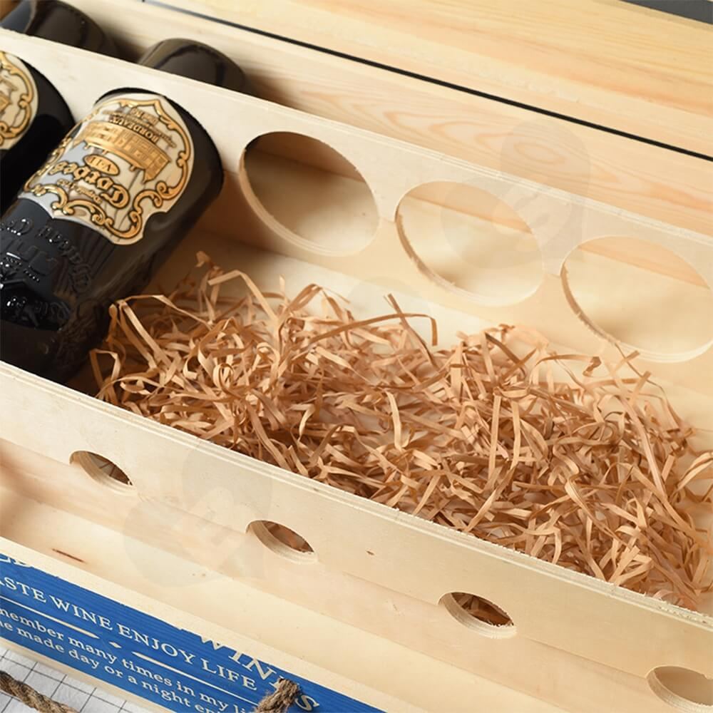 Customizable Six Pack Wine Box With Timber Divider Side View Two