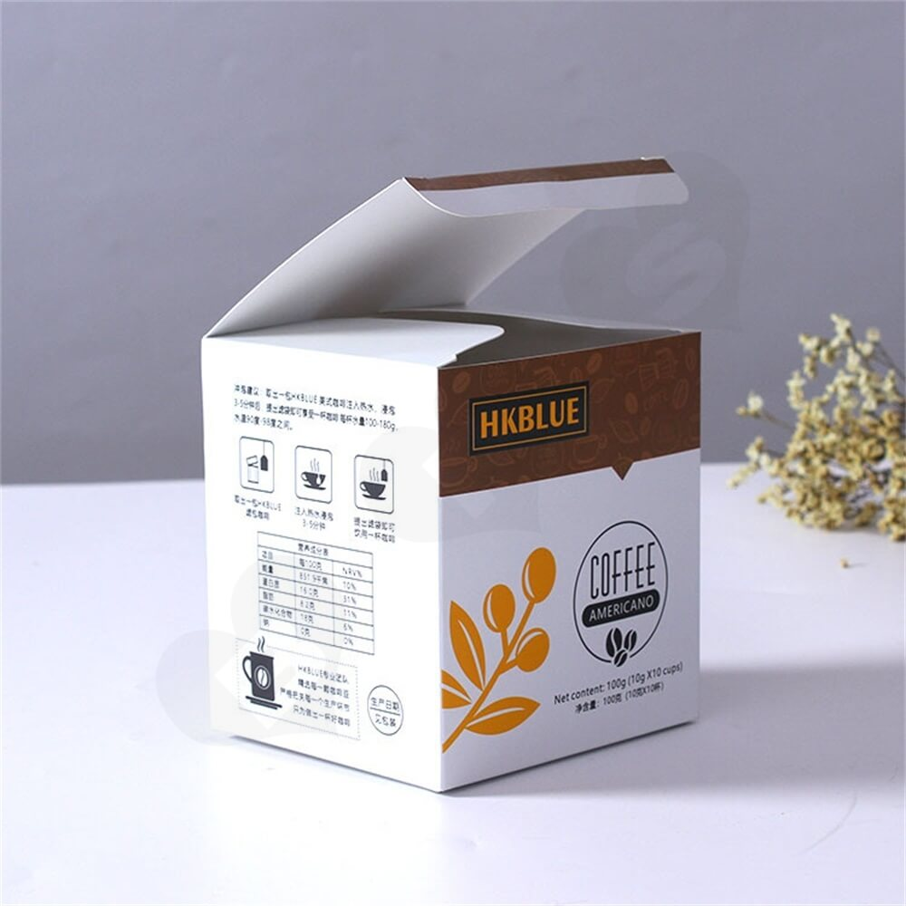Customized Folding Carton For Americano Coffee Powder Side View Four