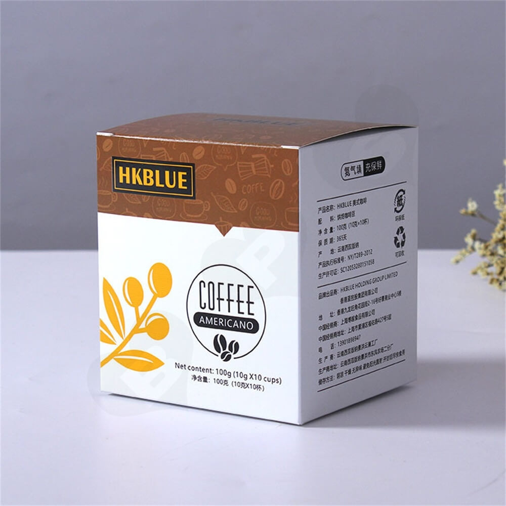Customized Folding Carton For Americano Coffee Powder Side View Two