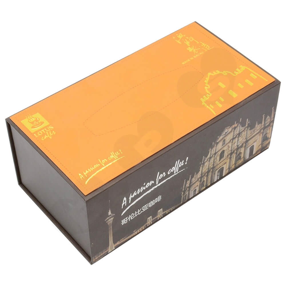 Customized Magnetic Closure Gift Box For Coffee Set Side View Five