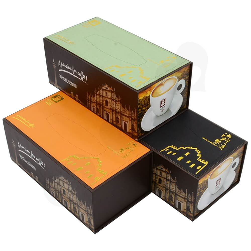Customized Magnetic Closure Gift Box For Coffee Set Side View One