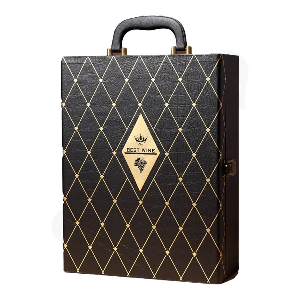 Diamond Pattern Two Pack Wine Box Side View One
