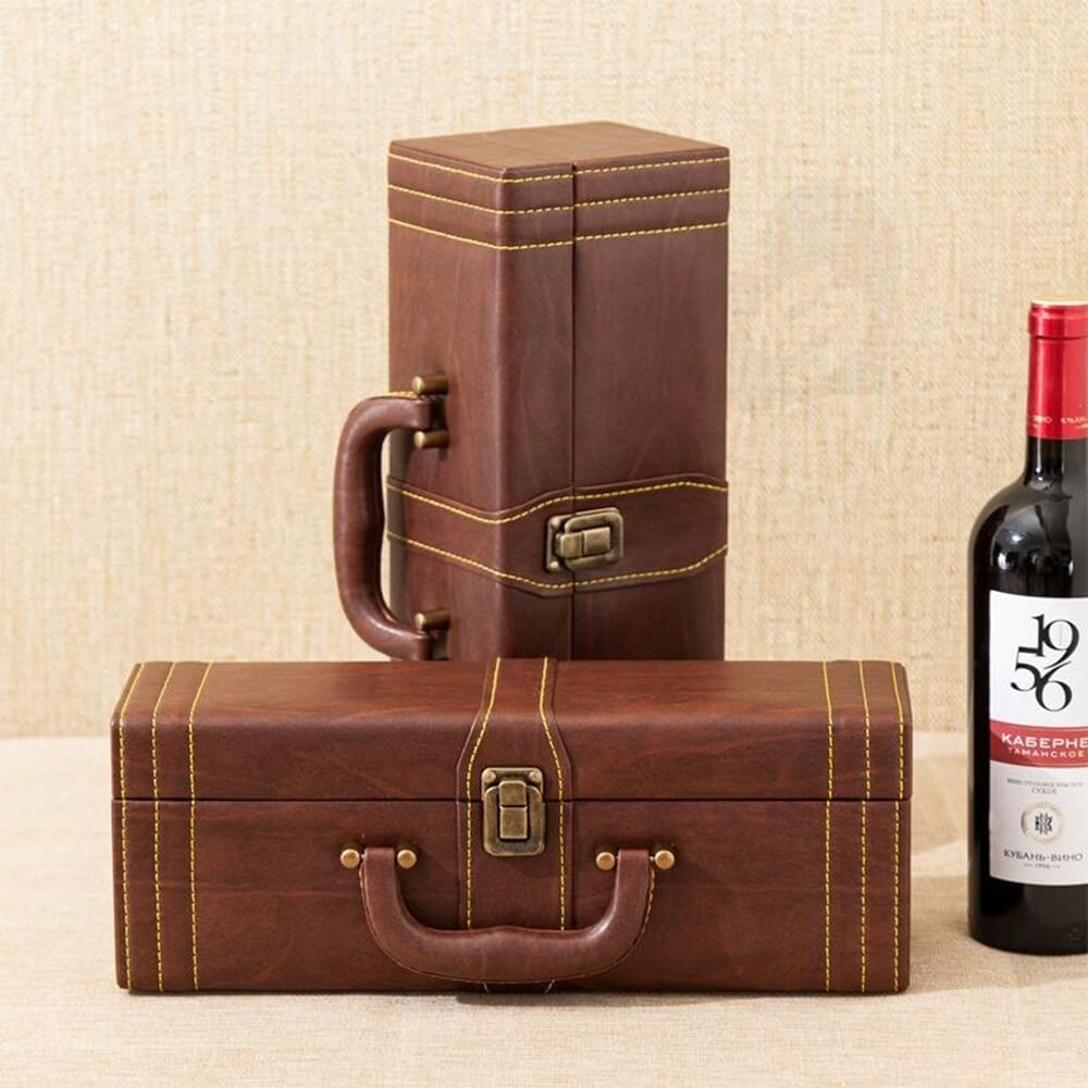 Durable PU Leather Wine Box Kit Side View Five