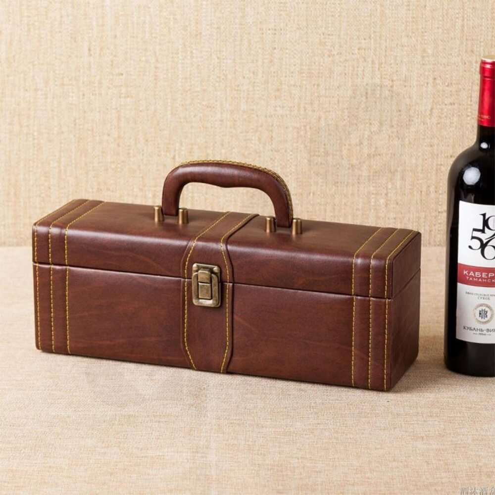 Durable PU Leather Wine Box Kit Side View Four
