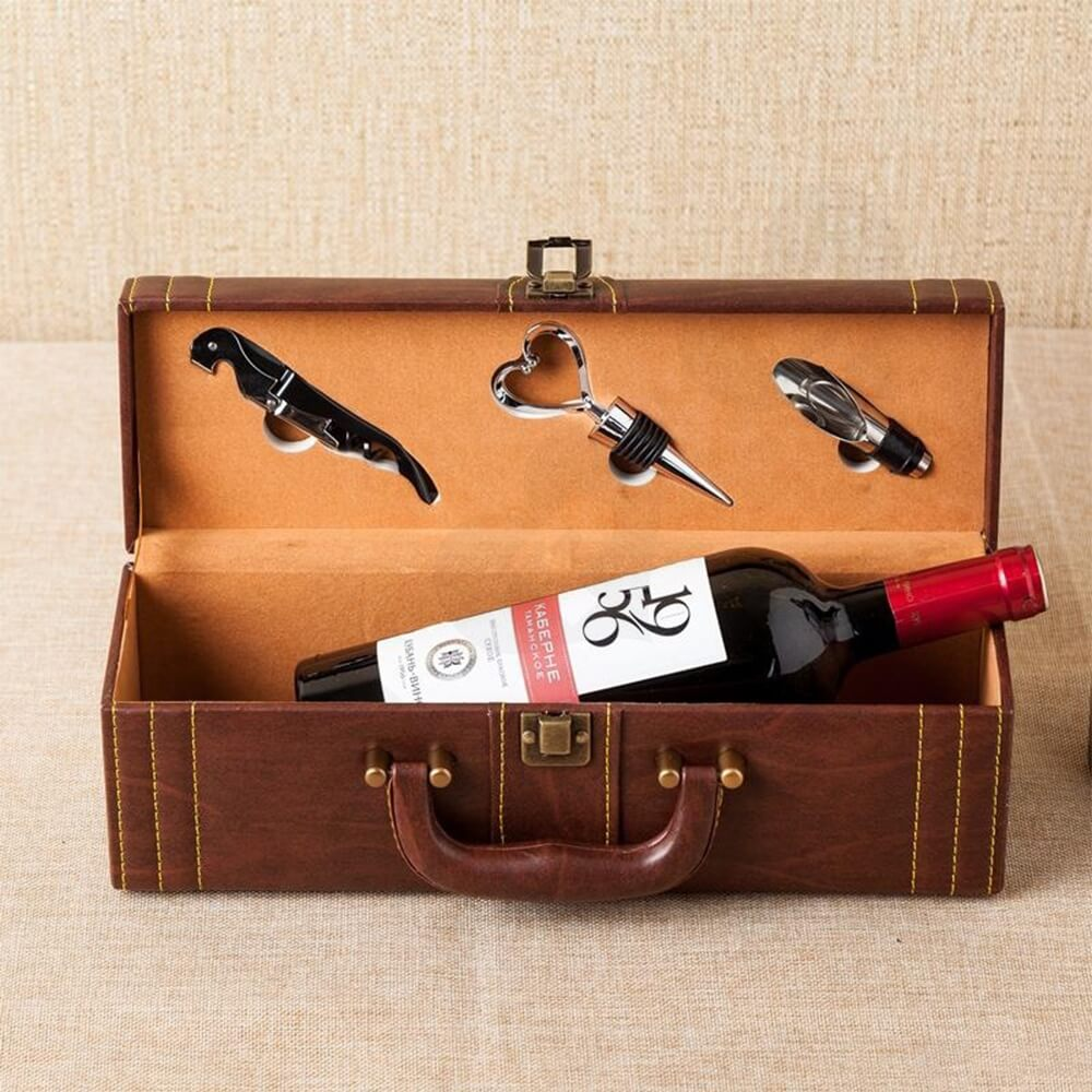 Durable PU Leather Wine Box Kit Side View Three