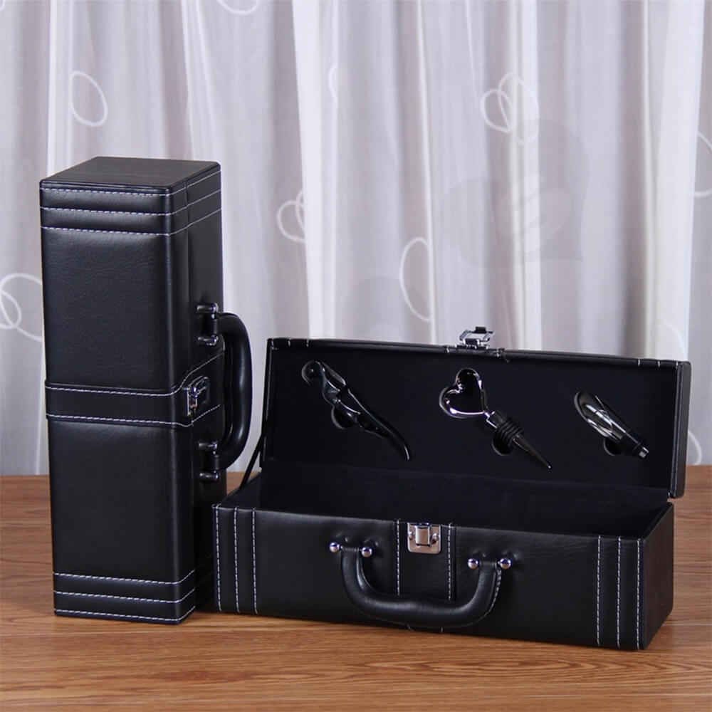 Durable PU Leather Wine Box Kit Side View Two