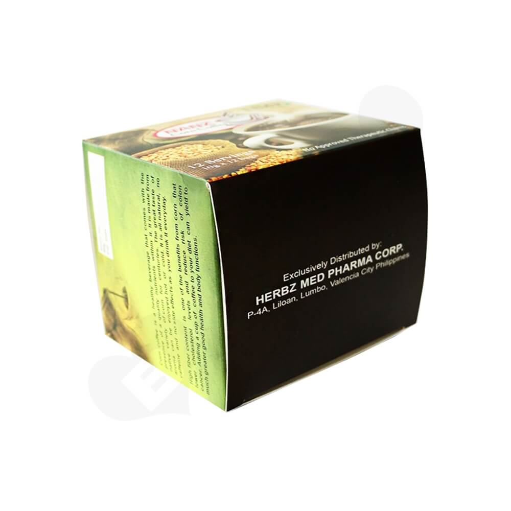 Gloss Printed Folding Carton For Coffee Powder Bar Side View Four