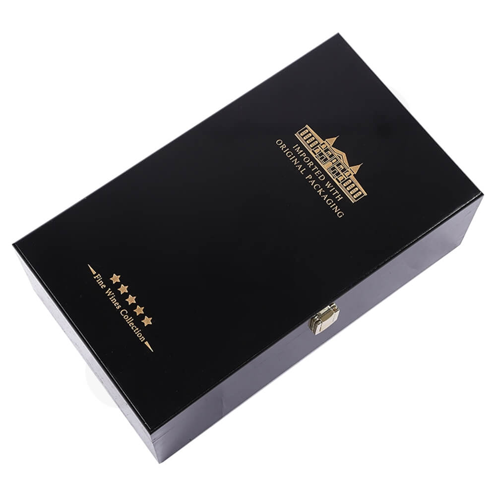 Gold Foil Stamped Wine Box Kit With Handle Side View Four