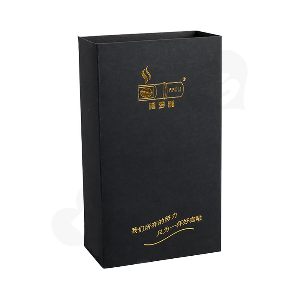 Gold Foil Stamping Cardboard Box Sleeve For Coffee Side View One