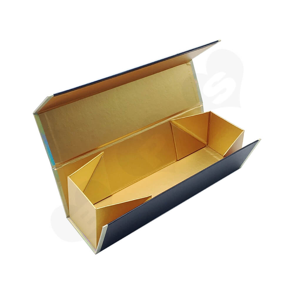 Laser Printed Logo Wine Gift Box Foldable Structure Side View Four