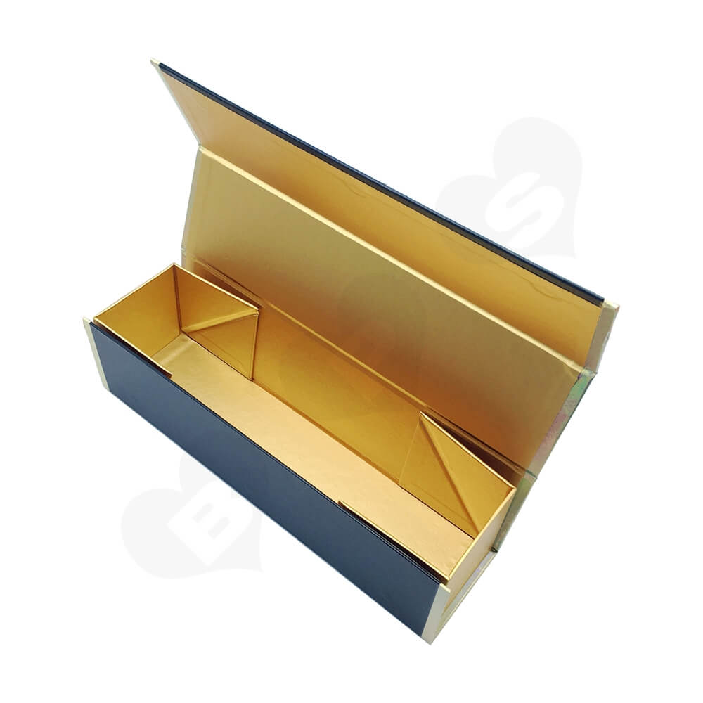 Laser Printed Logo Wine Gift Box Foldable Structure Side View Three