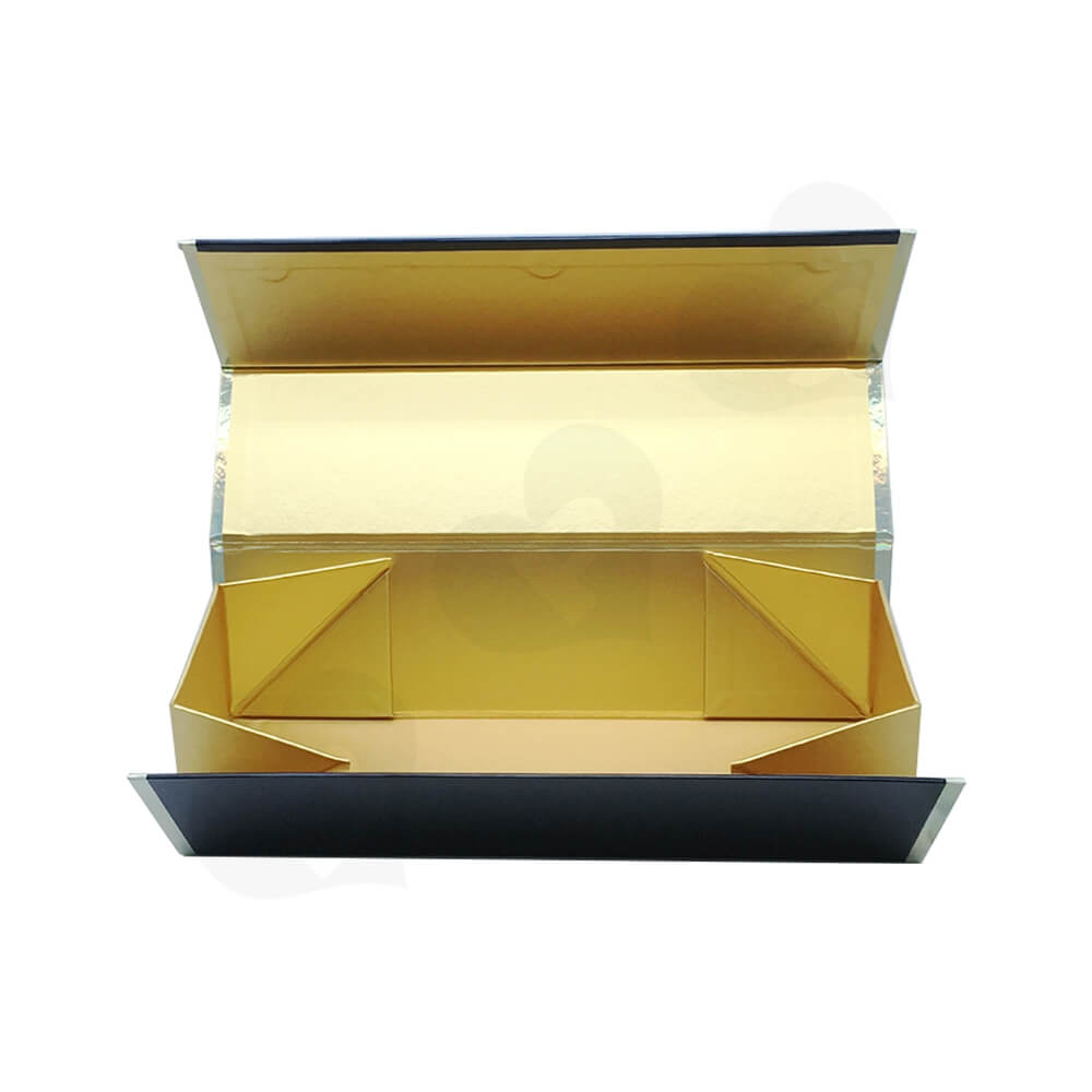Laser Printed Logo Wine Gift Box Foldable Structure Side View Two