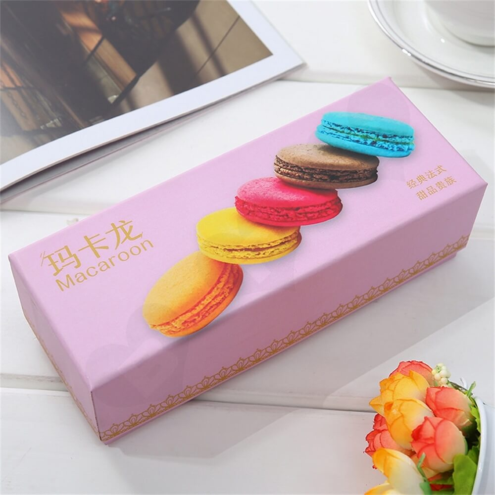 Light Pink Color Gift Pack For Six Pieces Macarons Side View Five