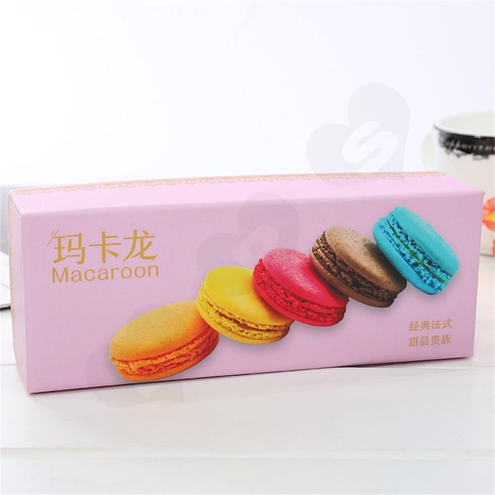 Light Pink Color Gift Pack For Six Pieces Macarons Side View Three