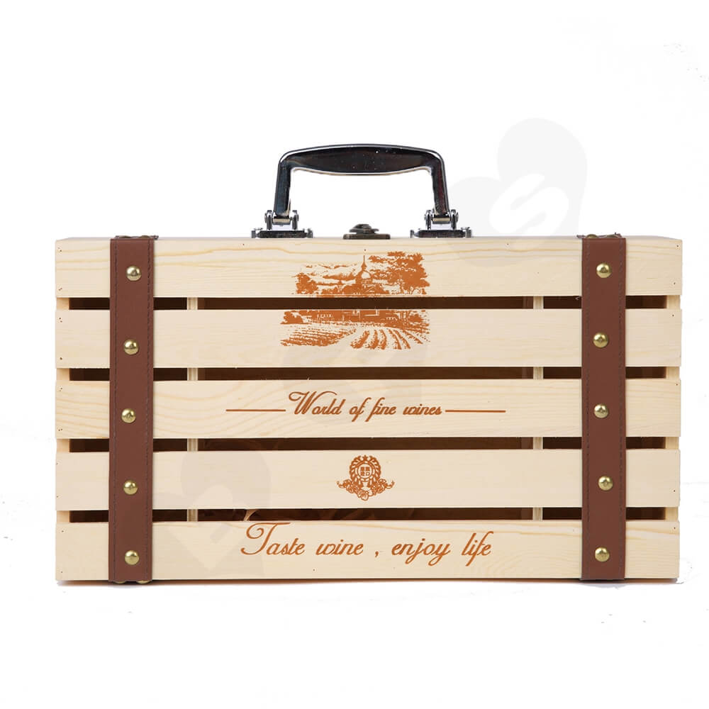 Logo Personalizable Timber Wine Case Side View One