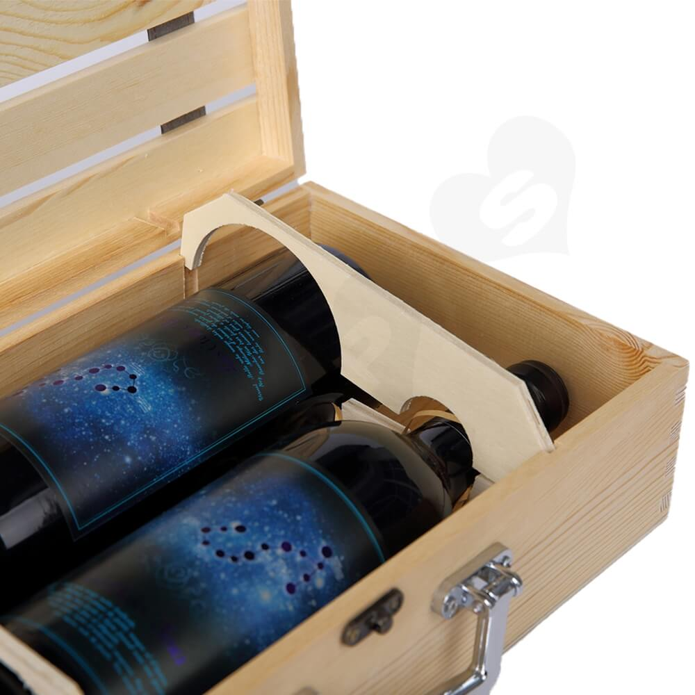 Logo Personalizable Timber Wine Case Side View Three