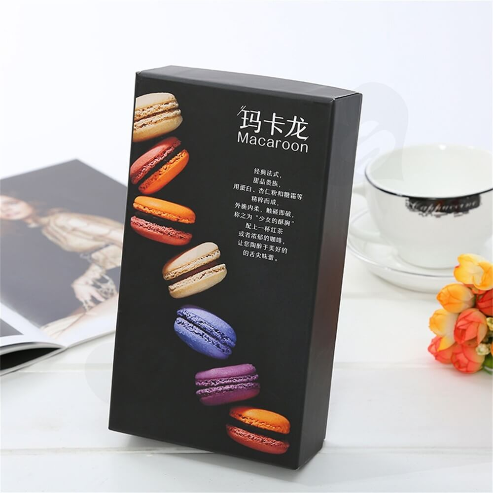 Matte Black Printed Macaron Packaging Box Side View Four