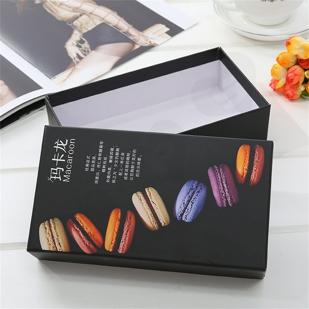 Matte Black Printed Macaron Packaging Box Side View Three